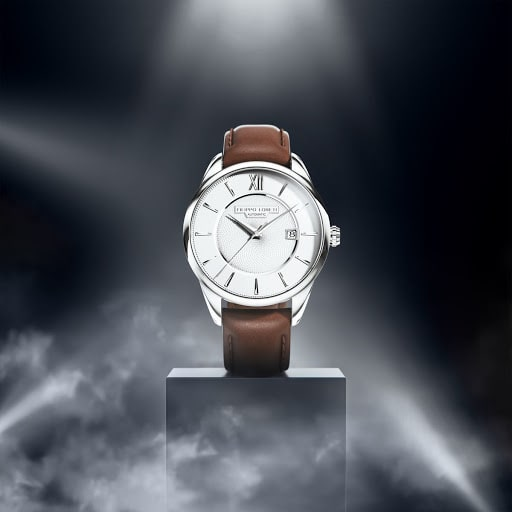 Rome Silver Automatic Mens Leather Strap Watch