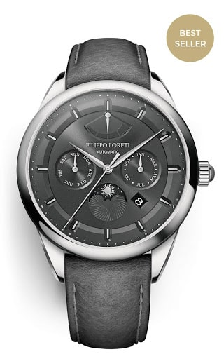 Venice Silver Gray Automatic Mens Leather Strap Watch